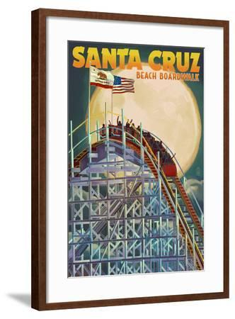 Santa Cruz, California - Big Dipper Coaster and Moon-Lantern Press-Framed Art Print