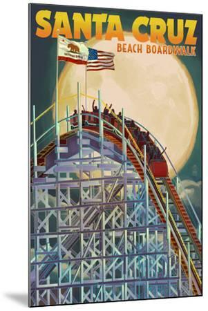 Santa Cruz, California - Big Dipper Coaster and Moon-Lantern Press-Mounted Art Print