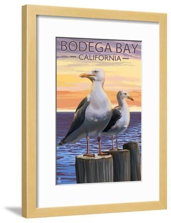 Bodega Bay, California - Seagull-Lantern Press-Framed Art Print