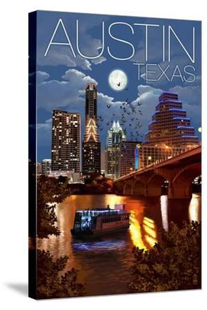Austin, Texas - Skyline at Night-Lantern Press-Stretched Canvas Print