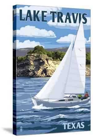 Austin, Texas - Lake Travis Sailing Scene-Lantern Press-Stretched Canvas Print