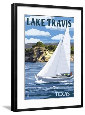 Austin, Texas - Lake Travis Sailing Scene-Lantern Press-Framed Art Print