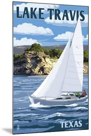 Austin, Texas - Lake Travis Sailing Scene-Lantern Press-Mounted Art Print