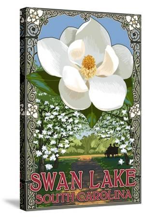 Swan Lake, South Carolina - Magnolia-Lantern Press-Stretched Canvas Print