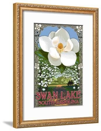 Swan Lake, South Carolina - Magnolia-Lantern Press-Framed Art Print