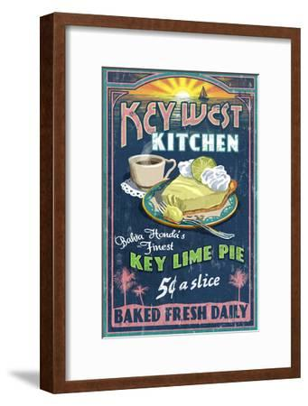 Bahia Honda, Florida Keys - Key Lime Pie Sign-Lantern Press-Framed Art Print