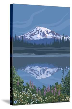 Mount Rainier - Reflection Lake - Image Only-Lantern Press-Stretched Canvas Print