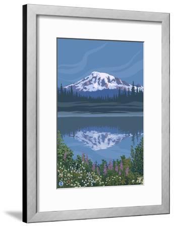 Mount Rainier - Reflection Lake - Image Only-Lantern Press-Framed Art Print