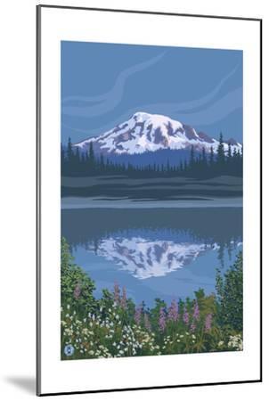 Mount Rainier - Reflection Lake - Image Only-Lantern Press-Mounted Art Print