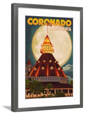 San Diego, California - Hotel Del Coronado and Moon-Lantern Press-Framed Art Print