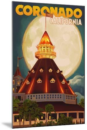 San Diego, California - Hotel Del Coronado and Moon-Lantern Press-Mounted Art Print
