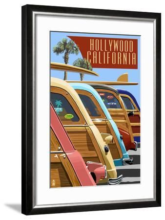 Hollywood, California - Woodies Lined Up-Lantern Press-Framed Art Print