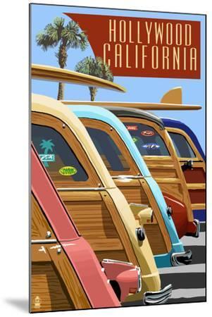 Hollywood, California - Woodies Lined Up-Lantern Press-Mounted Art Print