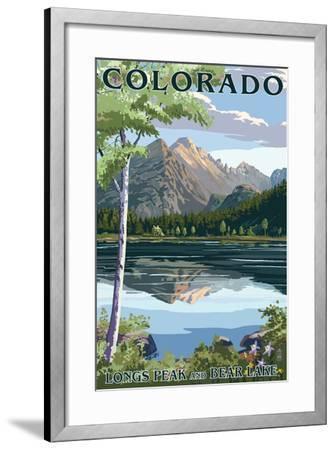 Colorado - Longs Peak and Bear Lake Summer-Lantern Press-Framed Art Print