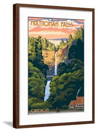 Multnomah Falls, Oregon - Sunset-Lantern Press-Framed Art Print