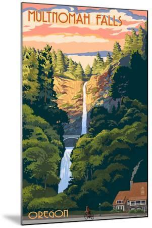 Multnomah Falls, Oregon - Sunset-Lantern Press-Mounted Art Print