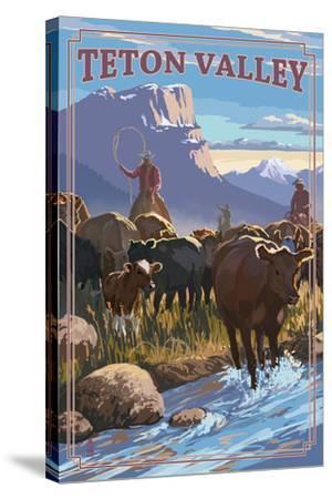 Teton Valley, Idaho - Cowboy Cattle Drive Scene-Lantern Press-Stretched Canvas Print