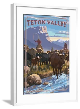 Teton Valley, Idaho - Cowboy Cattle Drive Scene-Lantern Press-Framed Art Print