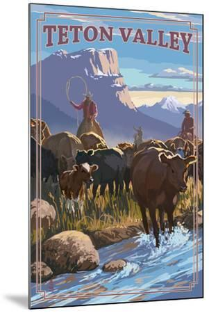 Teton Valley, Idaho - Cowboy Cattle Drive Scene-Lantern Press-Mounted Art Print