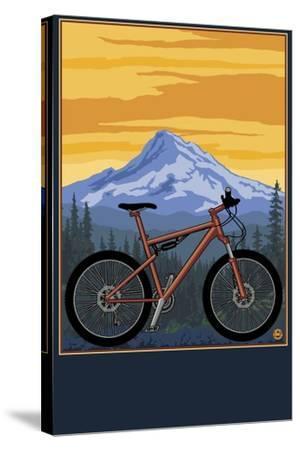 Mountain Bike Scene-Lantern Press-Stretched Canvas Print