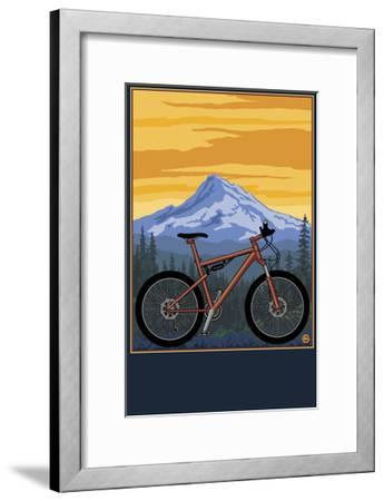 Mountain Bike Scene-Lantern Press-Framed Art Print