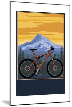 Mountain Bike Scene-Lantern Press-Mounted Art Print