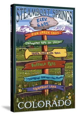 Steamboat Springs, Colorado - Destination Sign-Lantern Press-Stretched Canvas Print