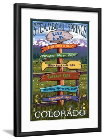 Steamboat Springs, Colorado - Destination Sign-Lantern Press-Framed Art Print