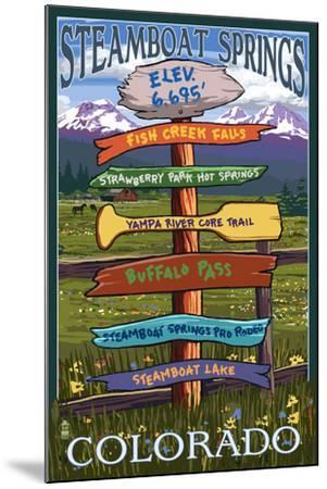 Steamboat Springs, Colorado - Destination Sign-Lantern Press-Mounted Art Print