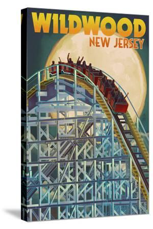 Wildwood, New Jersey - Roller Coaster and Moon-Lantern Press-Stretched Canvas Print