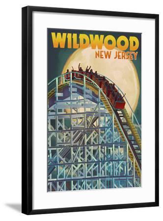 Wildwood, New Jersey - Roller Coaster and Moon-Lantern Press-Framed Art Print