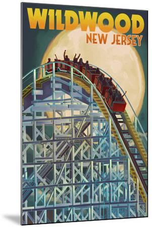 Wildwood, New Jersey - Roller Coaster and Moon-Lantern Press-Mounted Art Print
