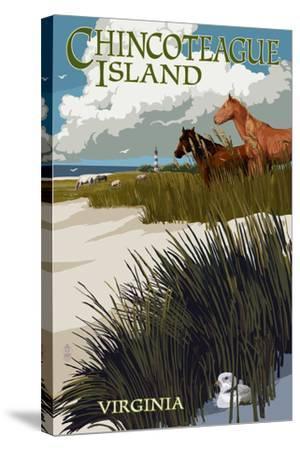 Chincoteague Island, Virginia - Horses and Dunes-Lantern Press-Stretched Canvas Print