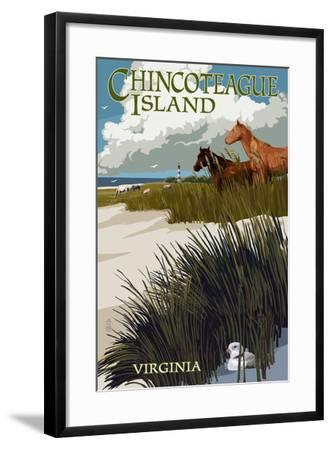 Chincoteague Island, Virginia - Horses and Dunes-Lantern Press-Framed Art Print