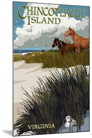 Chincoteague Island, Virginia - Horses and Dunes-Lantern Press-Mounted Art Print