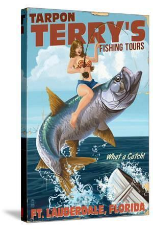 Ft. Lauderdale, Florida - Pinup Girl Tarpon Fishing-Lantern Press-Stretched Canvas Print