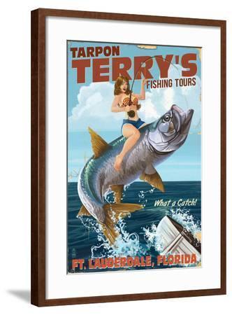 Ft. Lauderdale, Florida - Pinup Girl Tarpon Fishing-Lantern Press-Framed Art Print