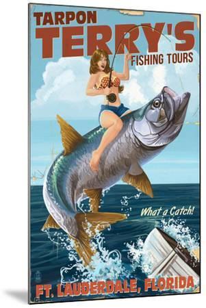 Ft. Lauderdale, Florida - Pinup Girl Tarpon Fishing-Lantern Press-Mounted Art Print