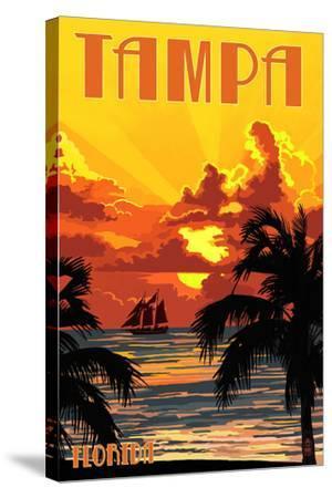 Tampa, Florida - Sunset and Ship-Lantern Press-Stretched Canvas Print