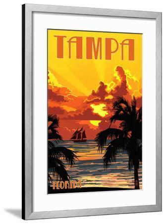 Tampa, Florida - Sunset and Ship-Lantern Press-Framed Art Print