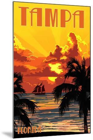 Tampa, Florida - Sunset and Ship-Lantern Press-Mounted Art Print