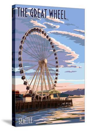 The Great Wheel at Sunset - Seattle, Washington-Lantern Press-Stretched Canvas Print
