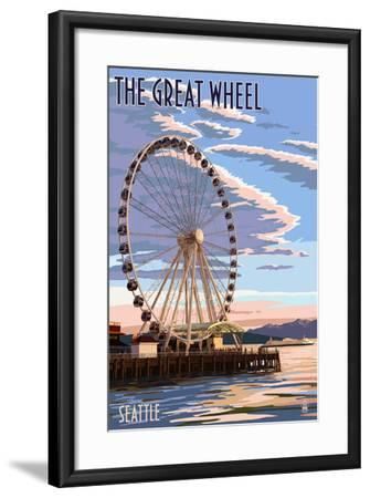 The Great Wheel at Sunset - Seattle, Washington-Lantern Press-Framed Art Print