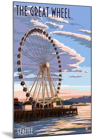 The Great Wheel at Sunset - Seattle, Washington-Lantern Press-Mounted Art Print