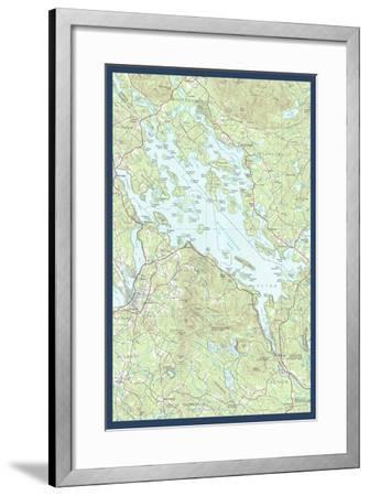 Lake Winnipesaukee, New Hampshire - Map Only-Lantern Press-Framed Art Print