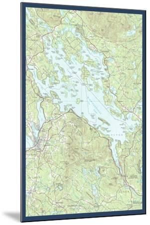 Lake Winnipesaukee, New Hampshire - Map Only-Lantern Press-Mounted Art Print