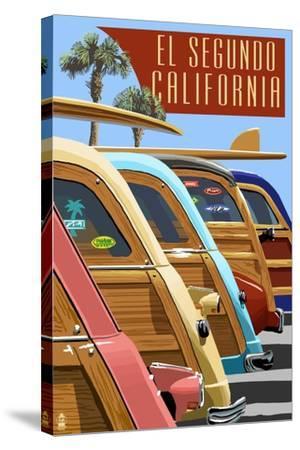 El Segundo, California - Woodies Lined Up-Lantern Press-Stretched Canvas Print