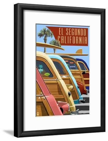 El Segundo, California - Woodies Lined Up-Lantern Press-Framed Art Print