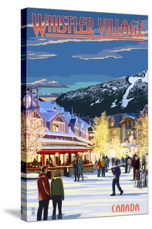 Village Scene - Whistler, Canada-Lantern Press-Stretched Canvas Print
