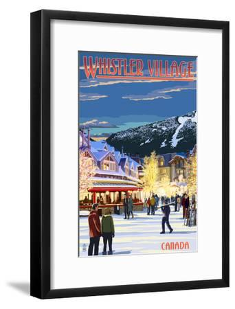 Village Scene - Whistler, Canada-Lantern Press-Framed Art Print